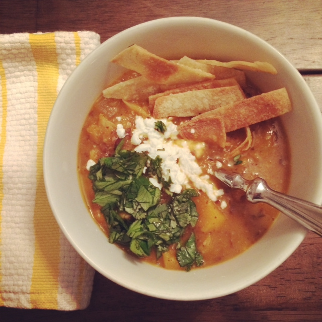Vegetarian Tortilla Soup with Black Beans and Butternut Squash
