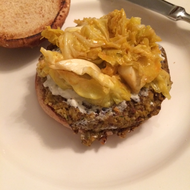 Black Bean and Butternut Squash Veggie Burgers with creamy bleu cheese and chili garlic slaw